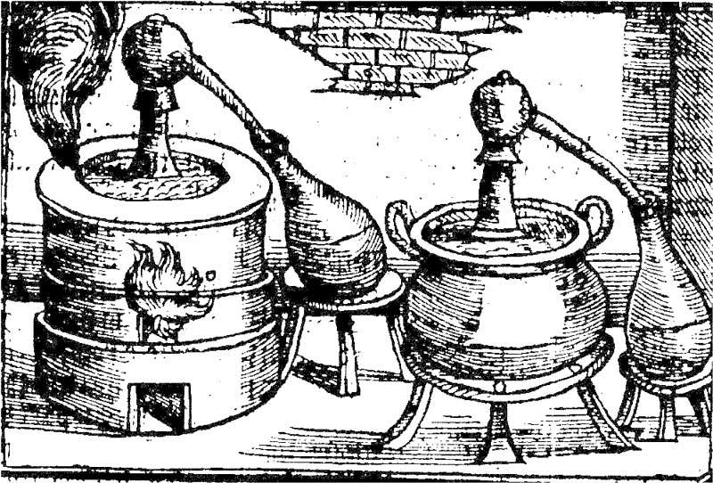 Первые аппараты для дистилляции